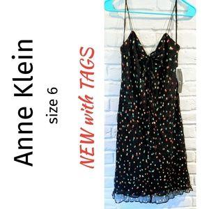 Anne Klein polkadot silk dress sz 6 NEW with TAGS